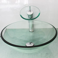 Victory Transparent Tempered Glass Vessel Sink With Waterfall Faucet Mounting Ring And Water Drain