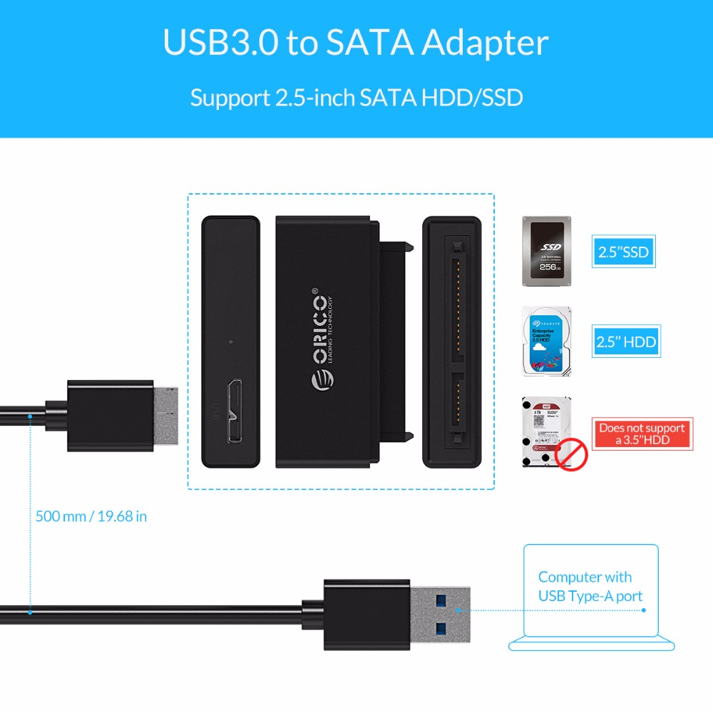 Orico Ssd Sata Adapter Cable 25 Inch Hard Disk Driver 1 Bay External Hdd Enclosure 2 Usb 30 2599us3 V1 Casing Hardisk Converter Super Speed To 22 Pin