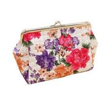 Bolso Vintage para mujer con estampado de flores, bolso para cosméticos, bolso de mano, bolsa de maquillaje con cierre de beso, bolsa de maquillaje con monedero de alta calidad