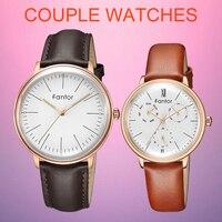 Fantor 2019 Fashion Luxury Couple Watches Pair Quartz Chronograph Luminous Hand Waterproof Watch for Lovers Man Woman Dress Set