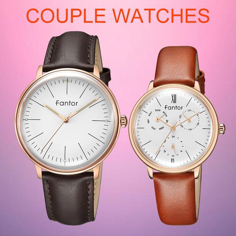 Fantor 2019 mode luxe Couple montres paire Quartz chronographe lumineux main étanche montre pour amoureux homme femme robe ensemble
