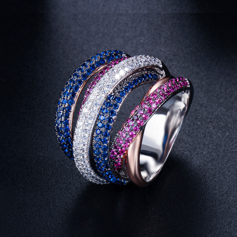 New Luxury Multi color Full Mirco Cubic Zirconia Ring For Women Engagement jewelry Finger Ring Fashion Party Jewelry For Wedding