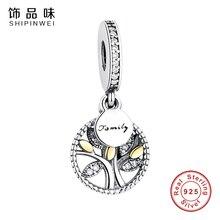 Shipinwei 925 серебро генеалогическое дерево серебряное серьги с четкими кубического циркония Fit Пандора браслет DIY ювелирных изделий