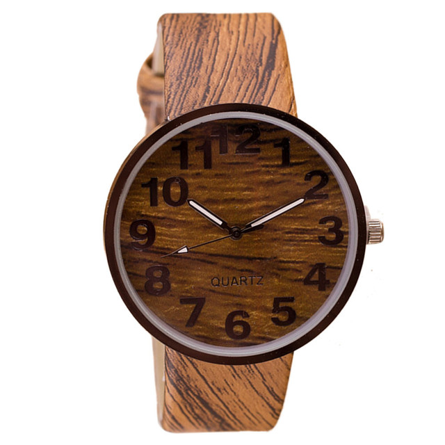 Aimecor Men Women watches Style Wood Grain Leather Quartz Watch Dress Wristwatch