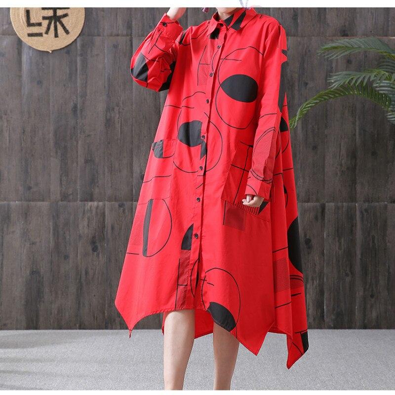 Vers Manches Noir Noir Printemps rouge Robe Rouge Tournent Mini Robes Irrégulière Ample Femmes Bas Géométrique À Longues Le 2019 Chemise Ourlet Pour Short wSvOqFC