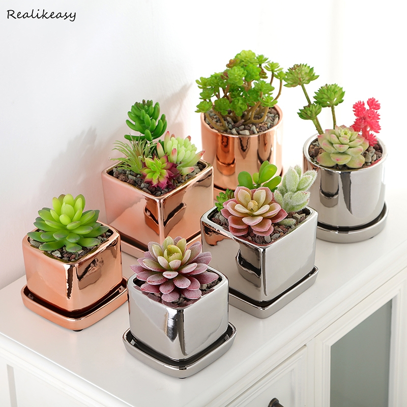 2019 Electroplated Ceramic Flower Pot Rose Gold Silver With Tray Succulent Plant Home Garden Office Desktop Decorion