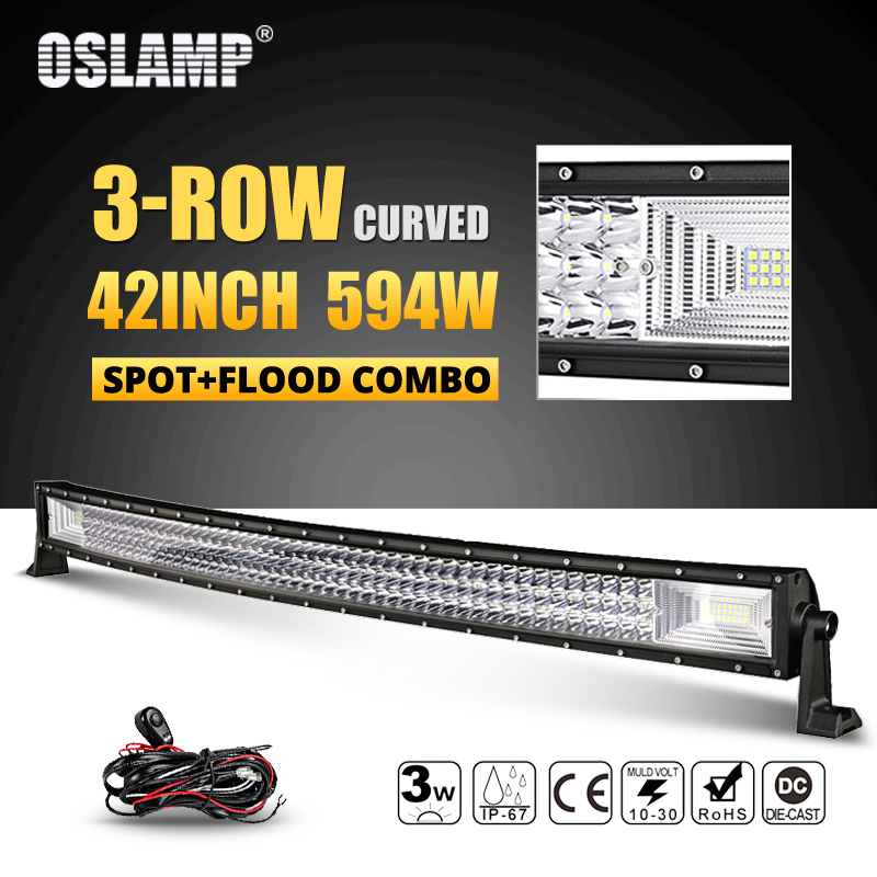 Oslamp 594W 42inch 3-row Curved LED Light Bar Offroad Combo Beam Led Work Light Lamp 12v 24v Truck SUV ATV 4WD 4x4 Led Bar Light 3 row 32 inch 459w curved led light bar offroad led bar flood spot combo beam for jeep atv 4wd truck suv 12v 24v led work light