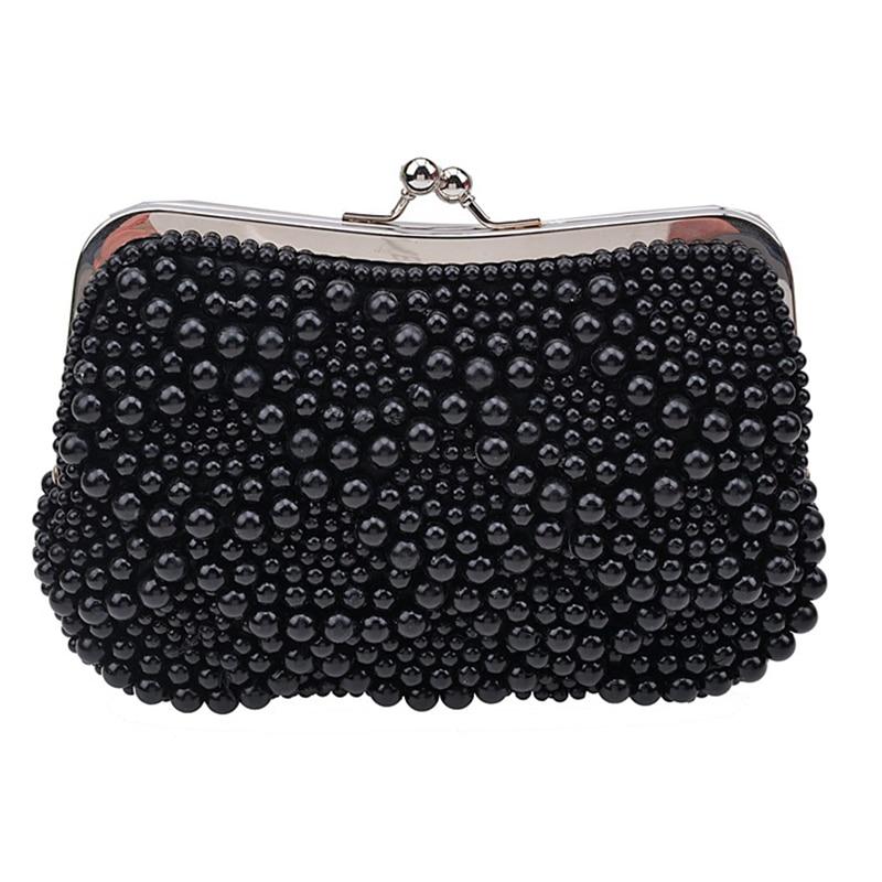 Fashion Black Pearl Ladies Bag Long Chain Women's Messenger Handbags Elegant Female Phone Case Bag Wallets Women Clutch Wallet
