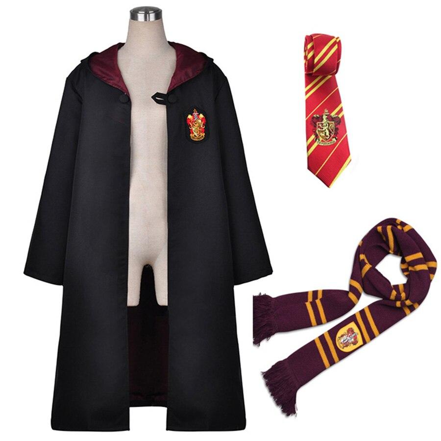 Harri Potter Robe Cape Manteau avec Cravate Écharpe Serdaigle/Gryffondor/Poufsouffle/Serpentard Cosplay Costumes Malfoy Hermione Costume