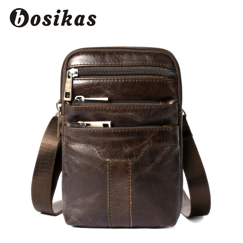 BOSIKAS Waist Bag Genuine Leather Men Bags Phone Case Cover Travel Money Belt Bag Leather Waist Pack Fanny Pack Waist Pouch New in Waist Packs from Luggage Bags