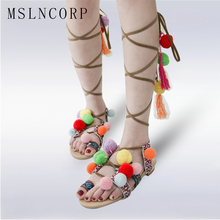Plus Size 34-46 Bohemian Summer Woman Pompon Flat Sandals Boots Ankle Fashion Cross Narrow Band Gladiator Knee High Tassel Shoes