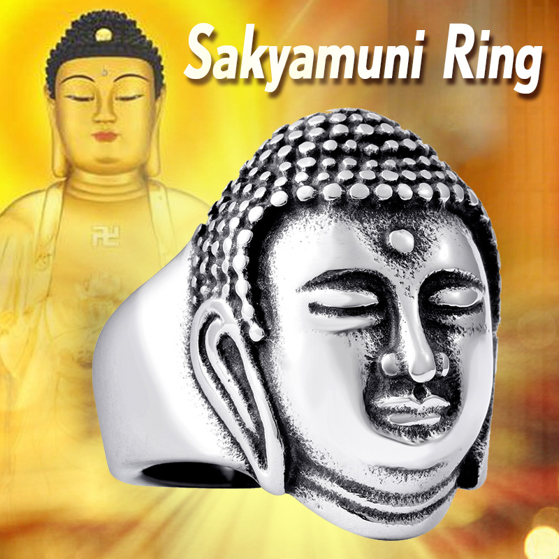 2017 Buddha Head Bless Ring 316L Stainless Steel Buddhism Jewelry Wholesale Price BR8-076