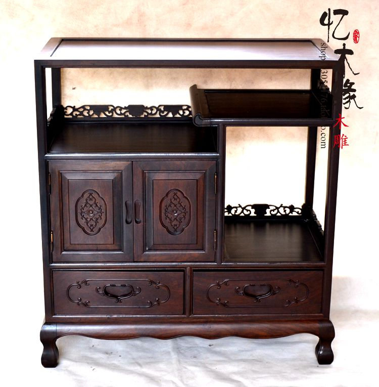 Mahogany furniture ebony sideboard tea cabinet shelf entrance rosewood antique wood lockers Chinese wine