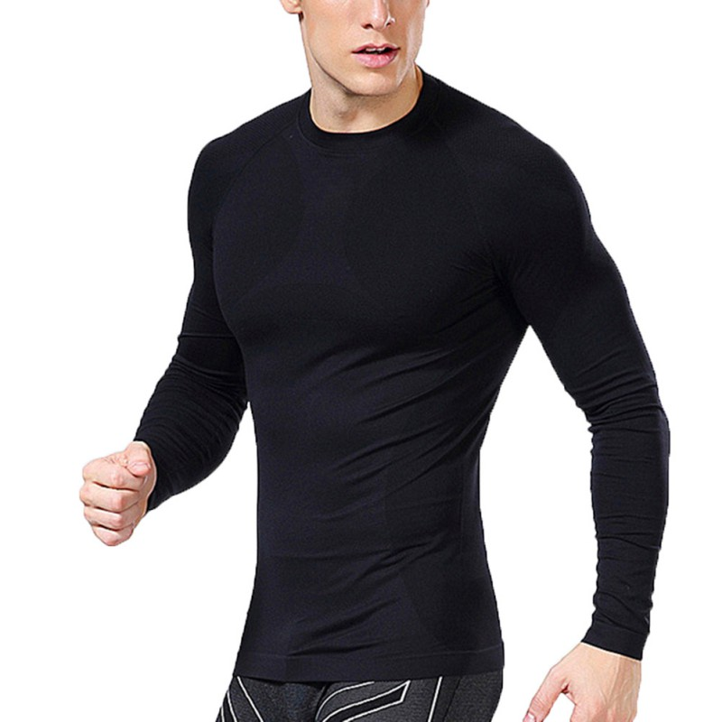 2018 New Men Compression Long Sleeve Sports Tight T Shirts Fast Drying Fitness Gym Base Layer Tops Tees ZM14