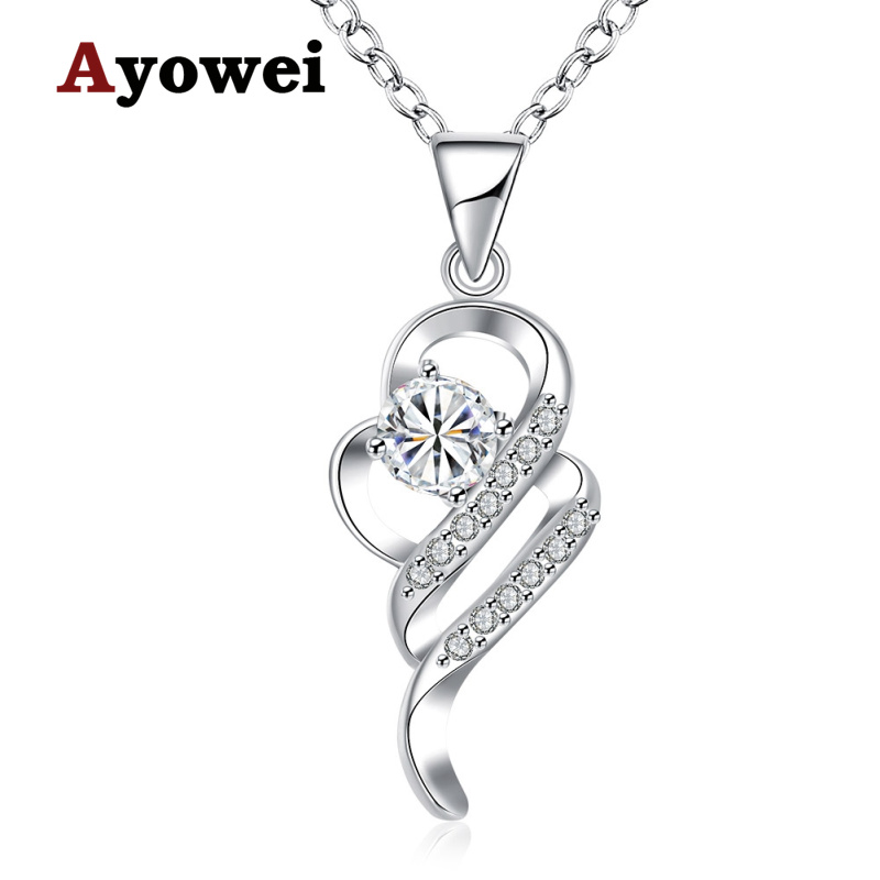 Ayowei Special Design wedding gift Cubic Zirconia white Crystal Classic Fashion Silver Necklace Pendants LNS657A