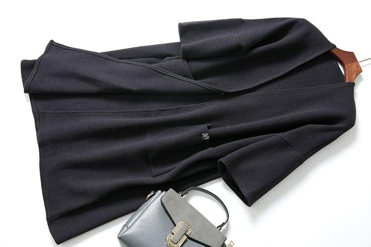 Cardigan Femmes Manches Couleurs Manteau Quarts 3 Plus Mélange One souris Pull Green Blue Mode Laine caramel Nouvelle Caramel Épais Chauve Tricot dark Dark Taille amp; wX0OWqZ