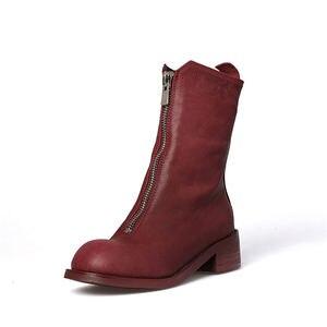 Image 2 - FEDONAS ماركة النساء 100% جلد الغنم منتصف العجل أحذية امرأة كعب سميك أحذية دراجات نارية من الجلد الأصلي النساء الخريف الشتاء الأحذية