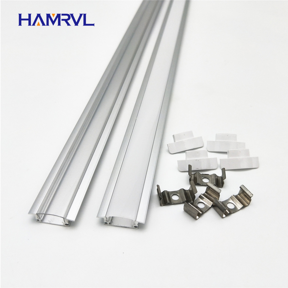 2-20pcs / lot 0.5m pc led slot, embedded aluminum profile for 5050 5630 strip, milky transparent cover 12mm pcb