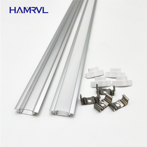 2-20pcs / lot 0.5m pc led slot, embedded aluminum profile for 5050 5630 strip, milky transparent cover 12mm pcb(China)