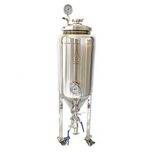 55L الرئيسية 2 بار المشروب خزانات تخمير البيرة المخروطية مايكرو تخمير البيرة. تخمير النبيذ الفولاذ المقاوم للصدأ 304