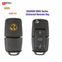 Keyecu 5 pçs/lote X001-01 série cor preta universal remoto chave fob 3 botão para vvdi ferramenta chave