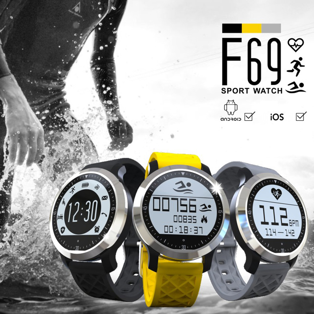 Heart Rate Monitor Bluetooth Smartwatch F69 Sport Swimming Waterproof Watch Pulsometer Smart Watches For font b