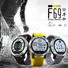Heart Rate Monitor Bluetooth Smartwatch F69 Спорт Плавание Водонепроницаемые Часы Пульсометр Умные Часы Для Apple iPhone Android