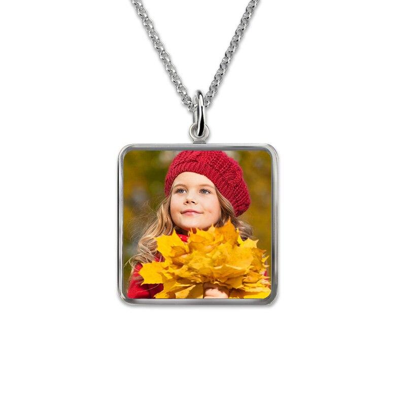 AILIN carré Photo pendentif en argent Sterling gravé Photo collier personnalisé Photo cadeaux mémorial bijoux