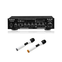 HiFi Digital Sound Audio Amplifier Home Theater Karaoke Power Speaker Amplifiers 100Wx2 USB Amps With Two Wireless Microphone
