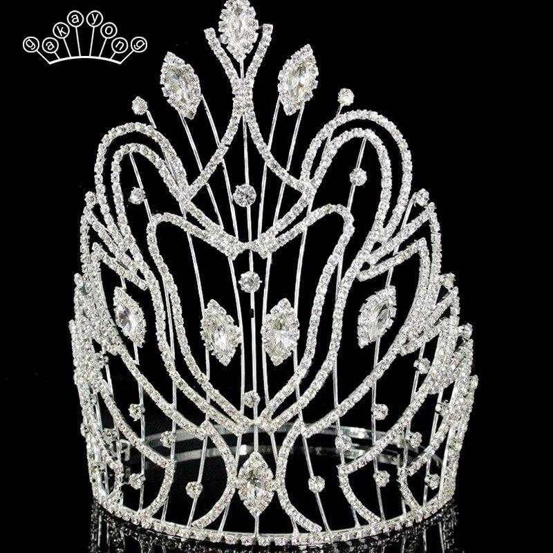 Or Argent Cristal Mariée Diadème Couronne De Cheveux De Mariage Accessoires De Mode Reine De Mariage Couronne Casque Bijoux En Gros
