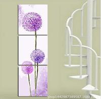 Modern Wall Art Home Decoration Printed Oil Painting Pictures No Frame 3 Panel Abstract Purple Blue Dandelion Bedroom Wall Decor