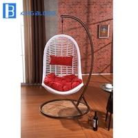 outdoor garden durable White rattan wicker swing hanging chair with best price