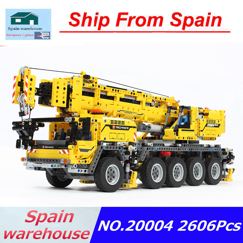 20004 Mobile Crane Mk II Truck Engineering Team Building Blocks Set Motor Power Technic Truck 42009