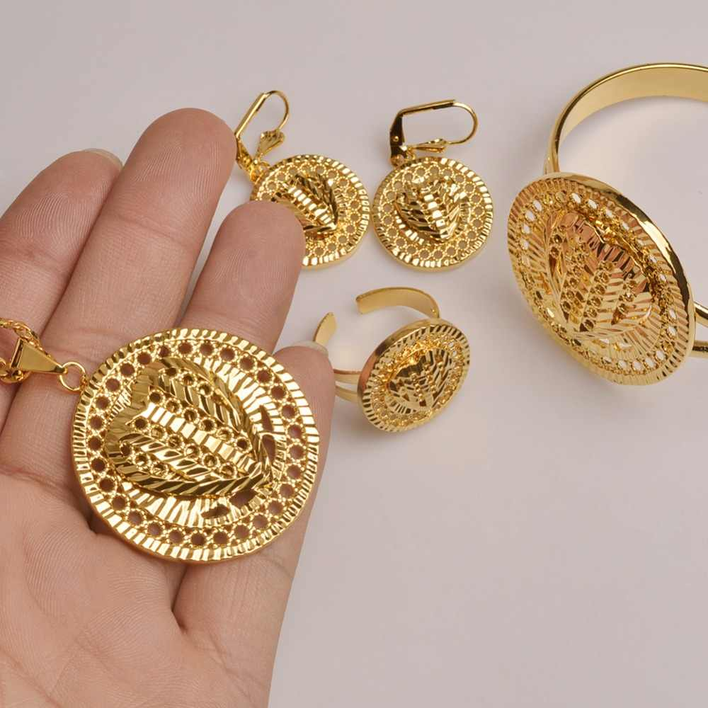 Anniyo Herz Dubai Schmuck sets Äthiopischen Halsketten Ohrringe Ring Armreif Gold Farbe, Arabischen Afrikanische Hochzeit Schmuck Sets #101706