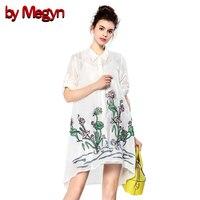 By Megyn Fashion Floral Embroidery Women Dress Half Sleeve Single Button Shirt Dress Women Cute Street