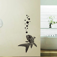 Fish Wall Stickers Decorative Adhesive Tape Removable Vinyl Wall Decals Ocean Sea Water Animals DIY Sticker