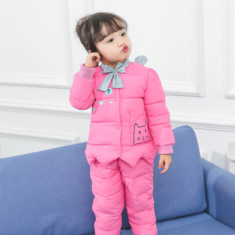 Kindstraum 2017 New Girls Thick Coat +trousers Children Winter Cartoon Clothing Suits Causaal-etck Sets for Kids Rc1589 children sets girls winter sweater coat