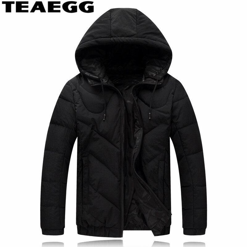 Teaegg черный Повседневное зимняя куртка человек Костюмы теплая хлопковая парка Hombre Капюшон Мужская зимняя куртка S и пальто плюс Размеры 6xl ...