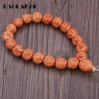 Dankaishi Peach Kernel Carving Eighteen Lohan Hand String Women Men Beads Bracelets Buddhist Prayer Strand Bracelet DKSFZ015