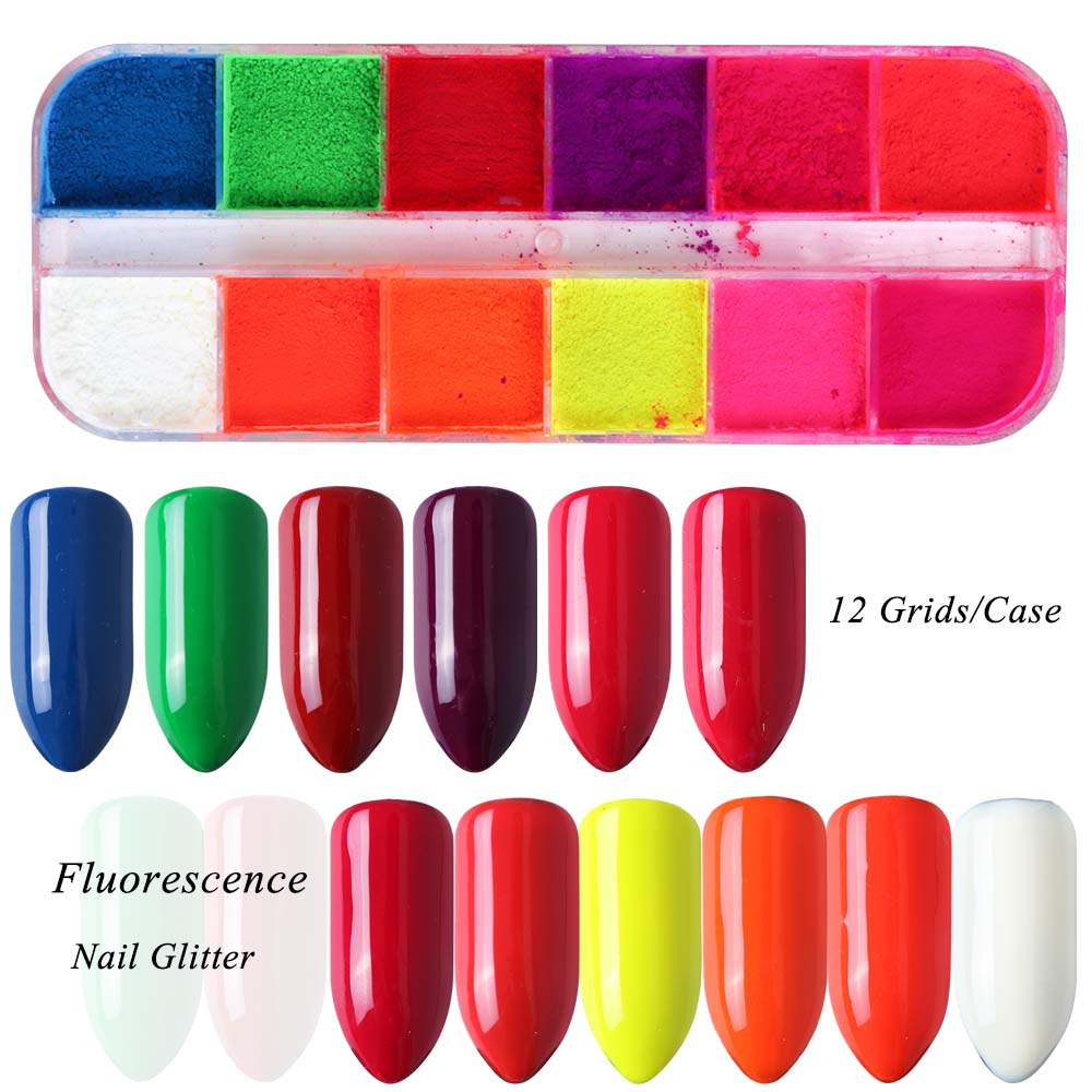 Image 2 - Mixed 12 Color Fluorescent Nail Art Pigment Neon Summer Shinny Glitter Nail Powder Dust Ombre Gradient Manicure Tool CHYE-in Nail Glitter from Beauty & Health