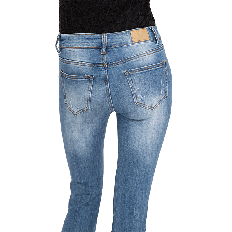 My Will Jeans Blue Mid-Rise Tight-Fitting High-Elastic Cotton Denim Pop Jeans7098 Made In China