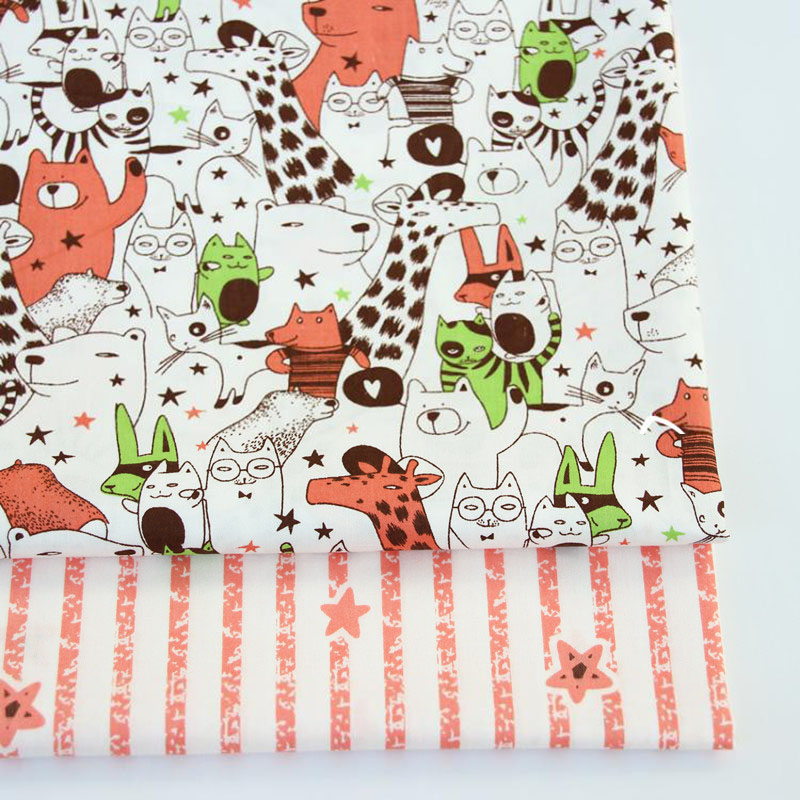 2PCS 50*40cm Deer Star Cotton Twill Printed Fabric Kids Cloth for DIY Sewing Quilting Material For Baby