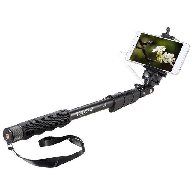Bastão de selfie yunteng 1188, extensível, de mão para ios e android, suporte de telefone e celular