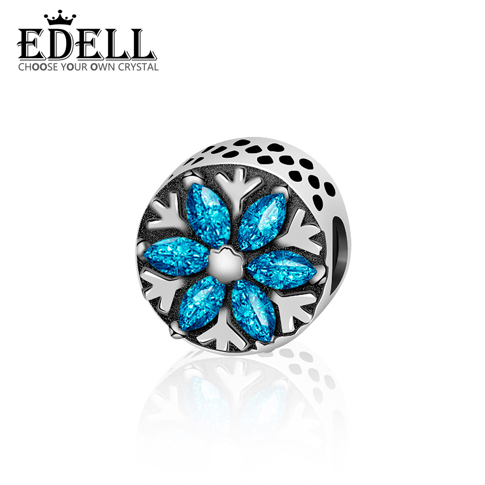 EDELL 100% 925 Sterling Silver Original Blue Sky Gem Charm Beaded Women Fashion Jewelry Natural Glittering Gemstone
