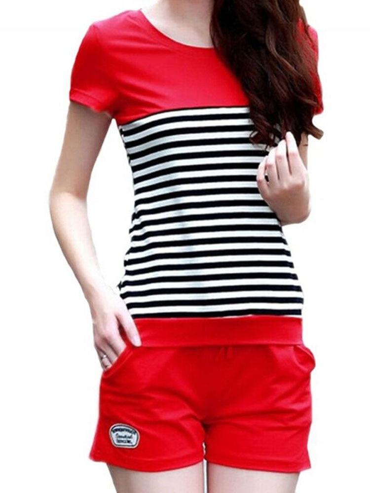 AmberHeard 2019 Fashion Spring Summer Women Sporting Suit Short Sleeve T Shirt+Shorts Sweatsuit Two Piece Set Striped Tracksuits