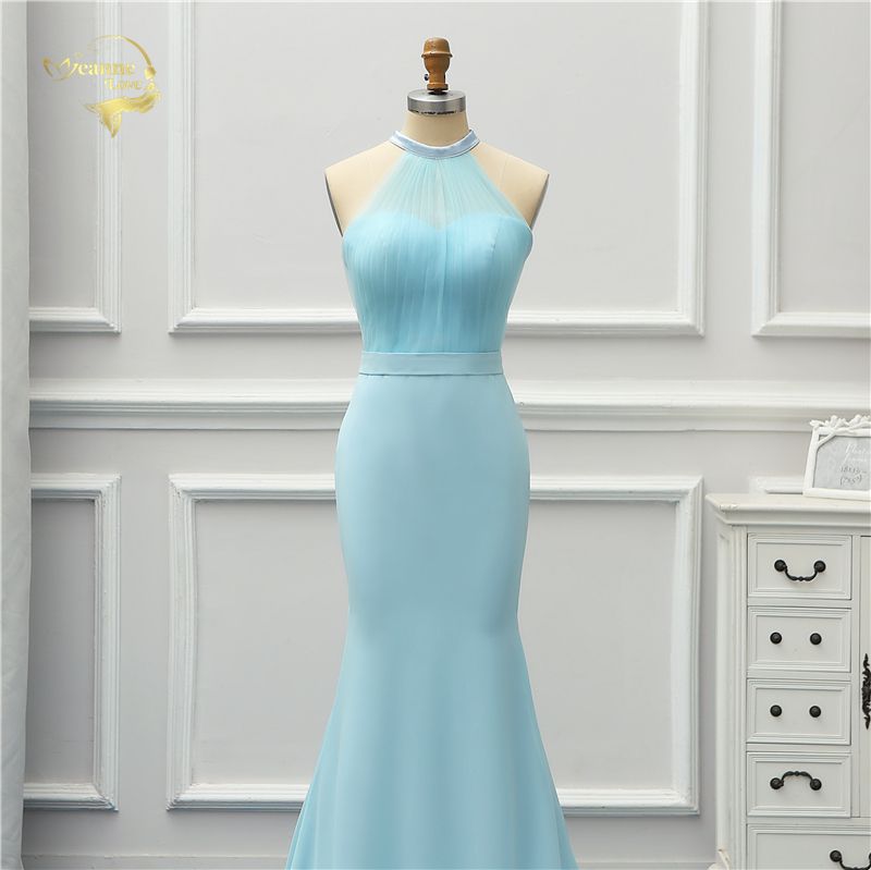 Halter Blue Sky Long Mermaid Bridesmaid Dress