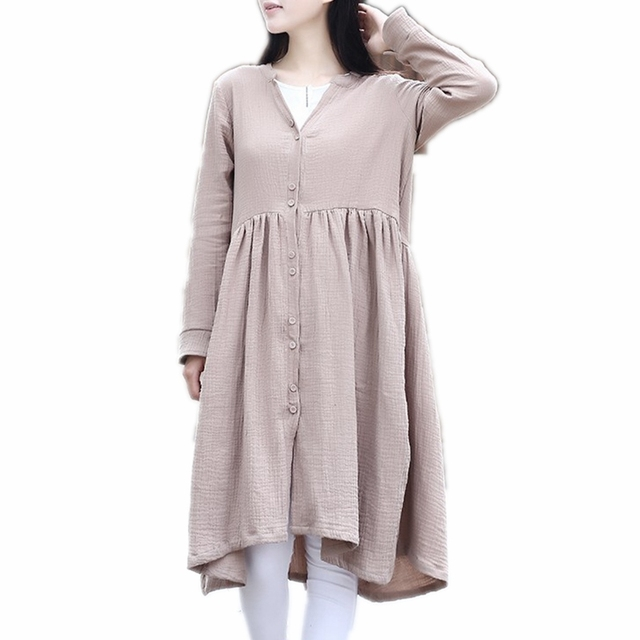 2f3e4489f27 Women Tunic Top 100% Cotton Mori Single Button Down V Neck Long Sleeve Robe  Femme Knee Length Shirt Dress Robe Casual