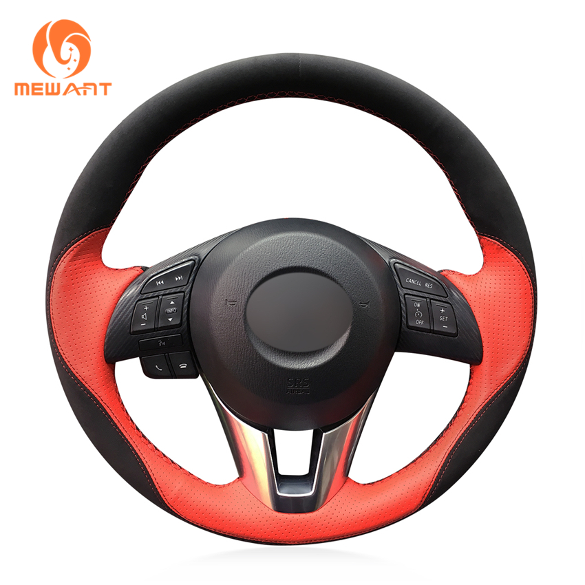 Mazda 3 Axela 2017 >> MEWANT Red Leather Black Suede Car Steering Wheel Cover for Mazda 3 Axela 2013 2016 Mazda 6 ...