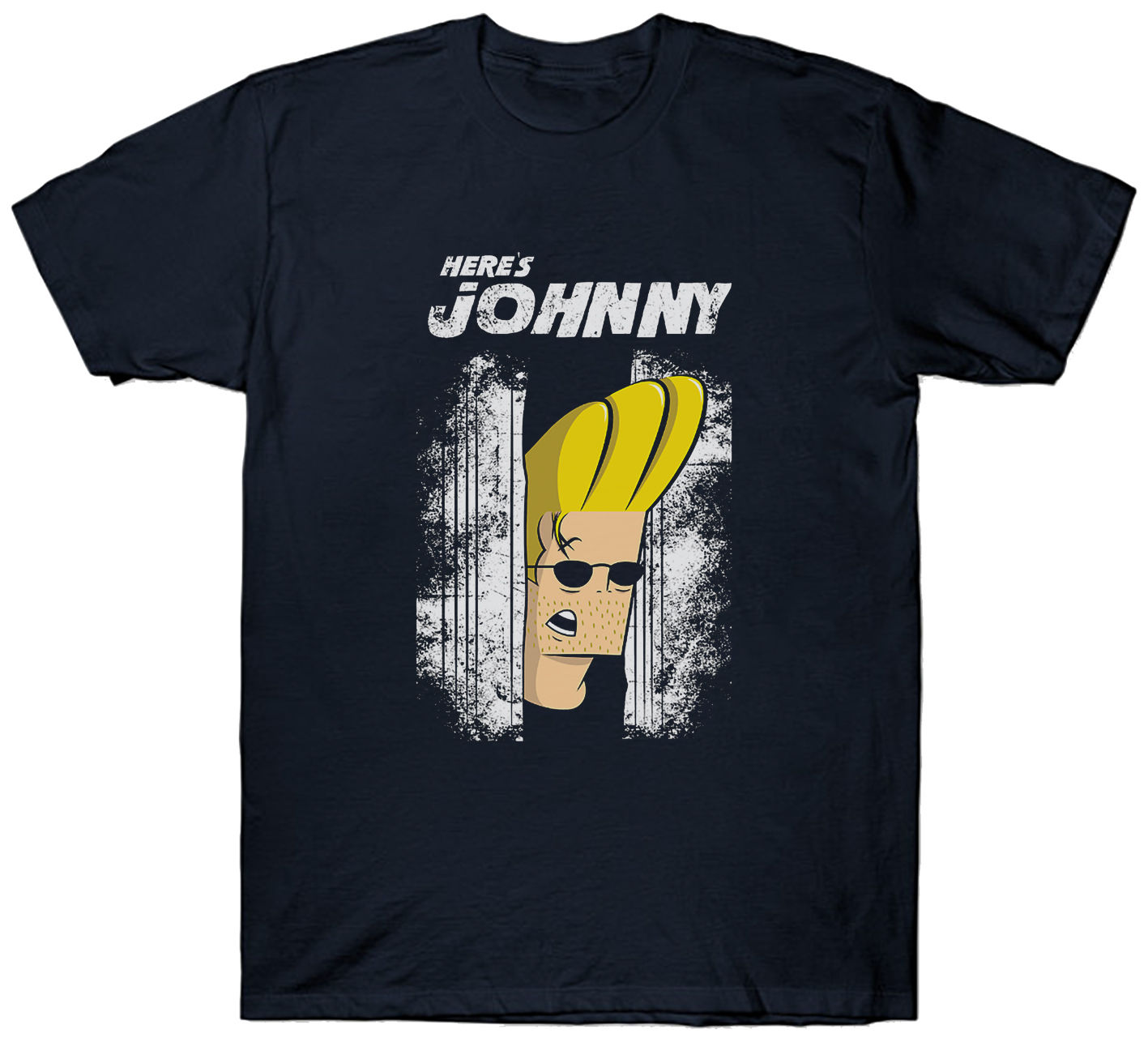 JOHNNY BRAVO T SHIRT HERE'S JOHNNY THE SHINING PARODY PUN JOKE image