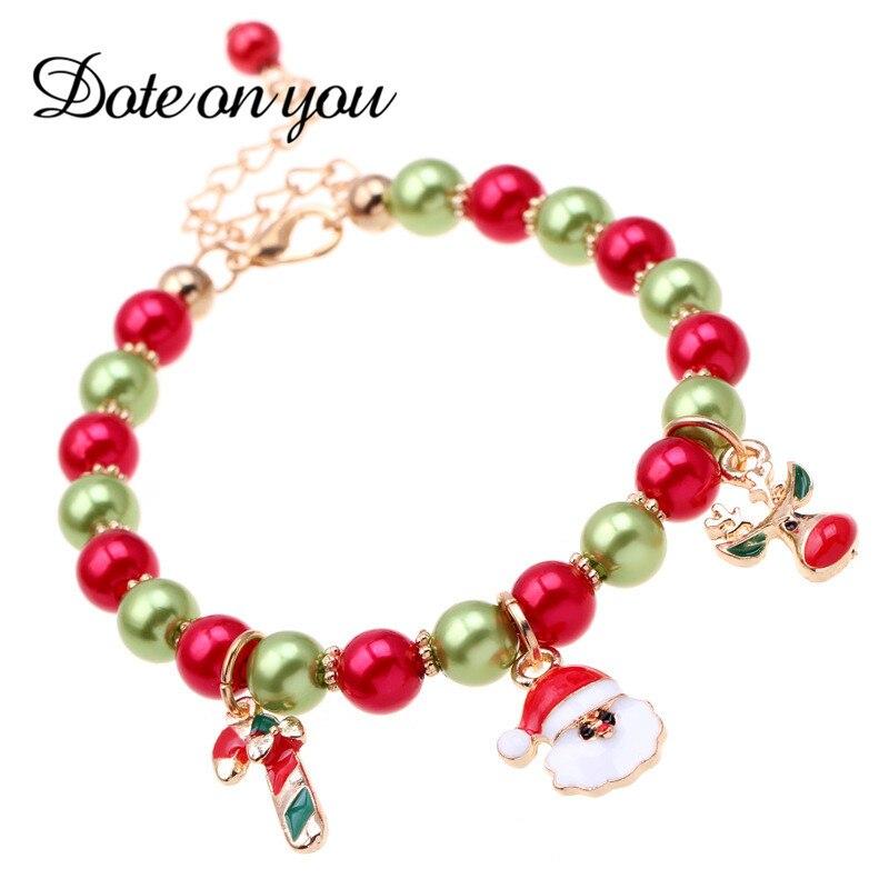 Новый Рождественский подарок браслет ювелирные изделия Санта Клаус лося кулон сплав Бусины Браслеты украшения для Для женщин девочек Брас...